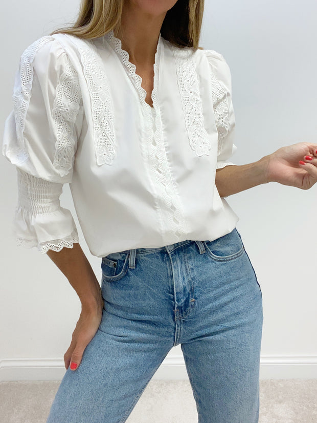 Nina Scalloped Broderie Anglais Blouse | White