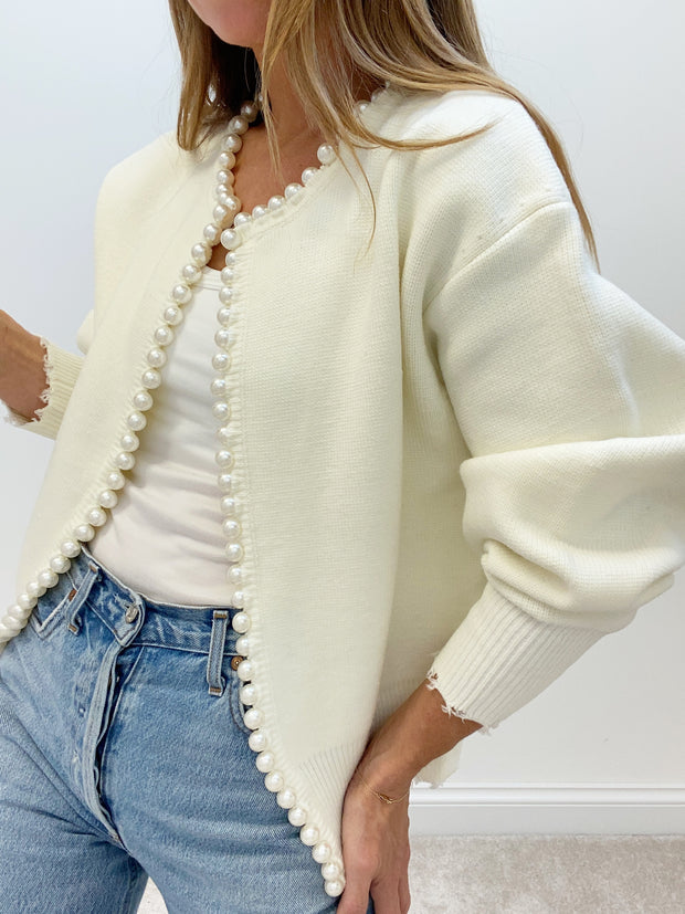 Isabella Pearl Edge Cardigan | Cream