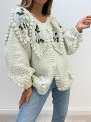 Nancy Floral Appliqué Cardigan | Chalk White
