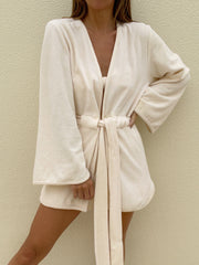 Terry Belted Beach Cover Up | Lemon Cream