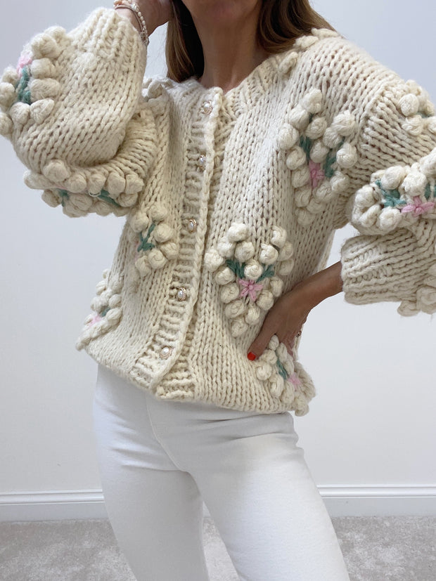 Eloise Heart Appliqué Knit Cardigan | Cream