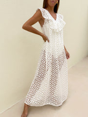 Bahli Cutwork Maxi Dress | White
