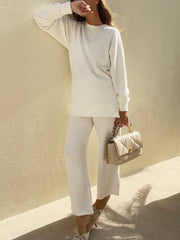 Chryssie Knitted Pant Suit | Island White
