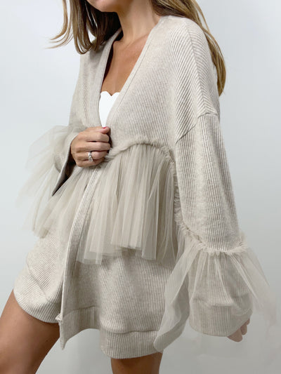 Yves Tulle Frill Beach Cardigan | Latte