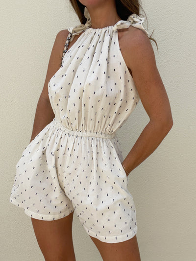Portofino Cotton Tie Playsuit | Natural