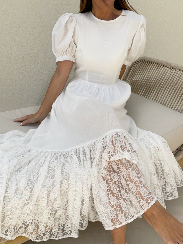 Edie Elegance Day Dress | White