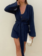 Terry Belted Beach Cover Up | Navy Eclipse