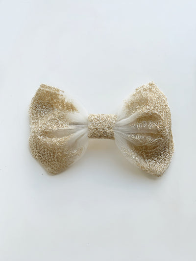 Clara Embroidered Hair Bow | Ivory