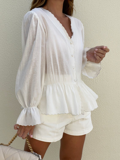 Lila Scalloped Edge Blouse | Ivory White