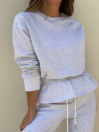 Lois French-Terry Fancy Peplum Sweatshirt | Grey Melange