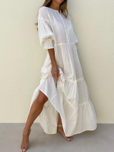 Harina Flowing Day Dress | White Gold
