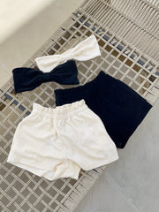 Terry High Waist Beach Shorts | Lemon Cream