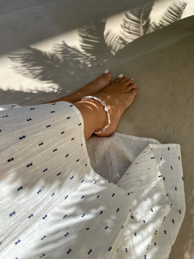 Solar Bohemian Pearl Anklet | Freshwater Pearl