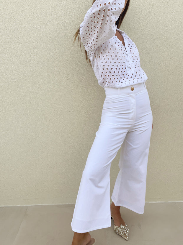 Anez High Waisted Crop Flare | White