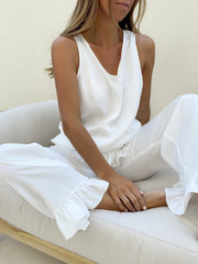 Athena Frill Trouser Sleep Set | White Ivory