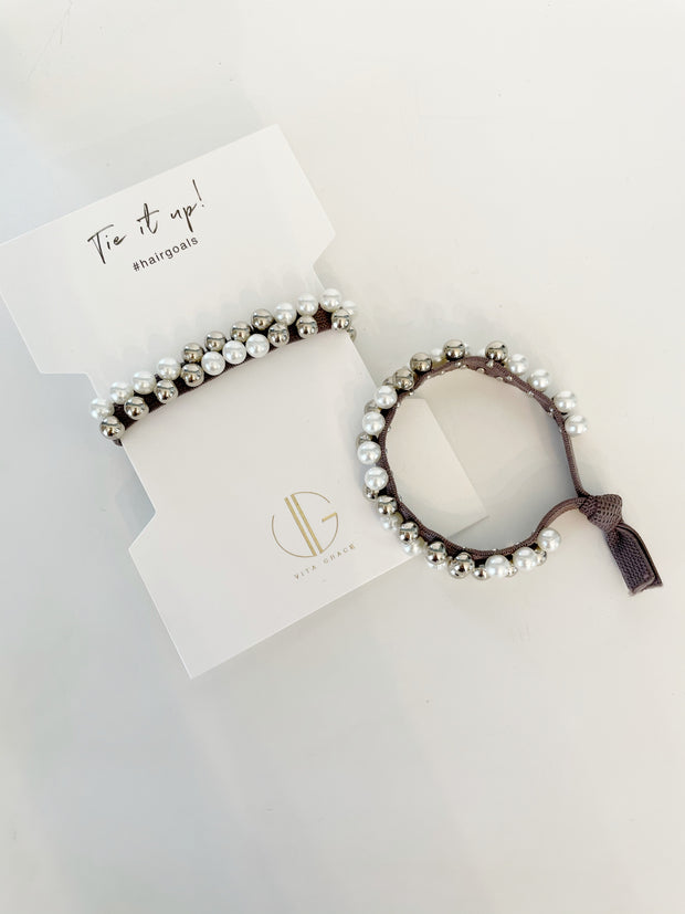 Lucia Pearl Hair Tie | Pewter