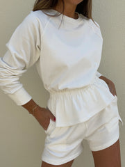 Lois French-Terry Fancy Peplum Sweatshirt | White