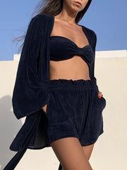 Terry Bandeau Beach Top | Navy Eclipse