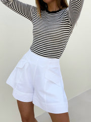 Sailor High Waister Shorts | White
