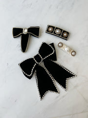 Maira Sparkle Bow Hair Grip | Black