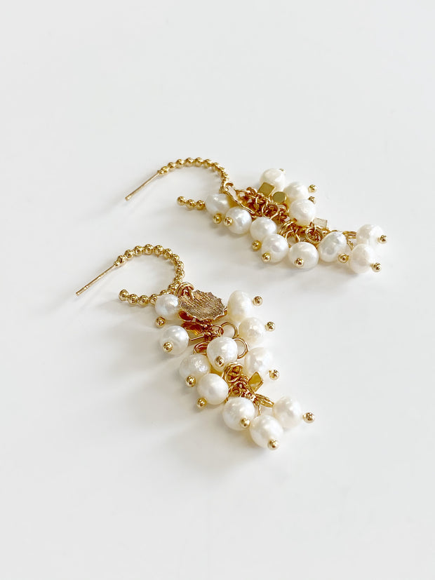 Petra Cluster Pearl Drop Earrings | Gold
