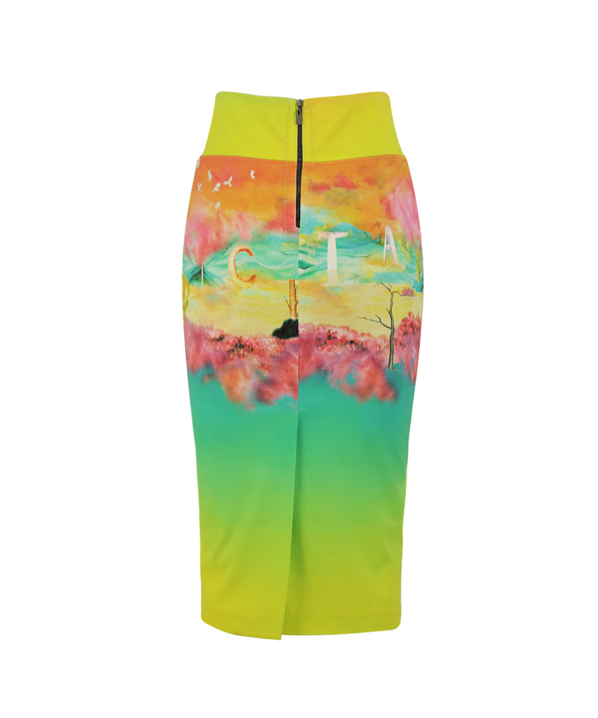 Long sunset tie waist pencil skirt