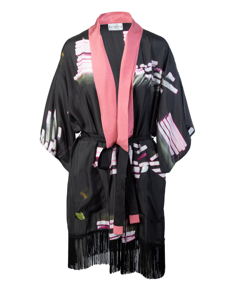 abstract flamingo pink kimono