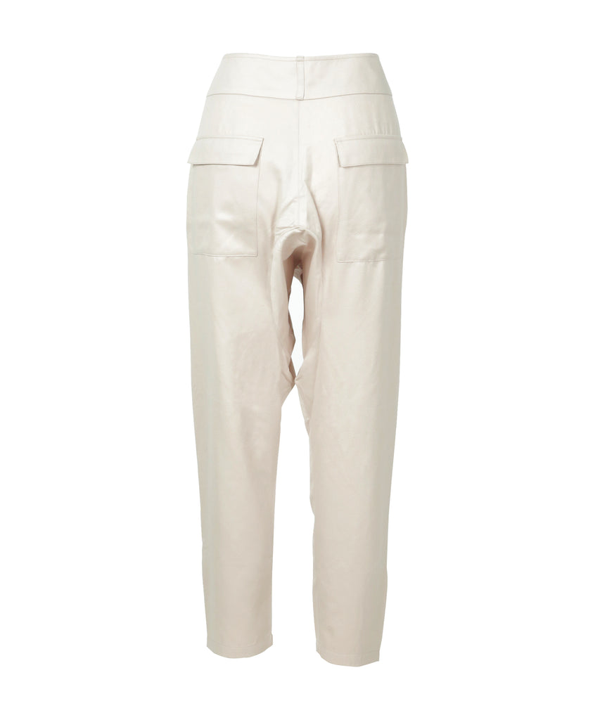 Cream high-rise tapered ankle pants
