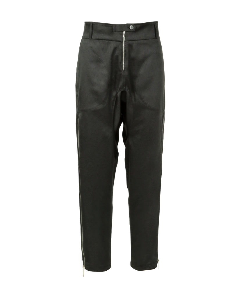 Black high-rise tapered leather embossed pants