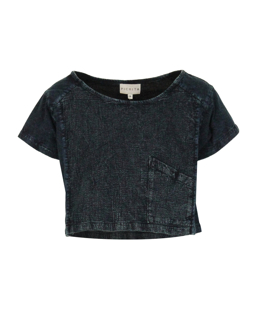 Scoop neck indigo t-shirt