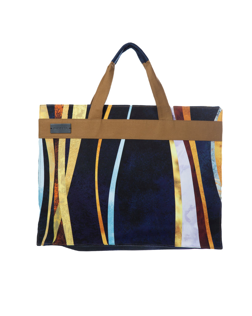 Golden lining canvas tote