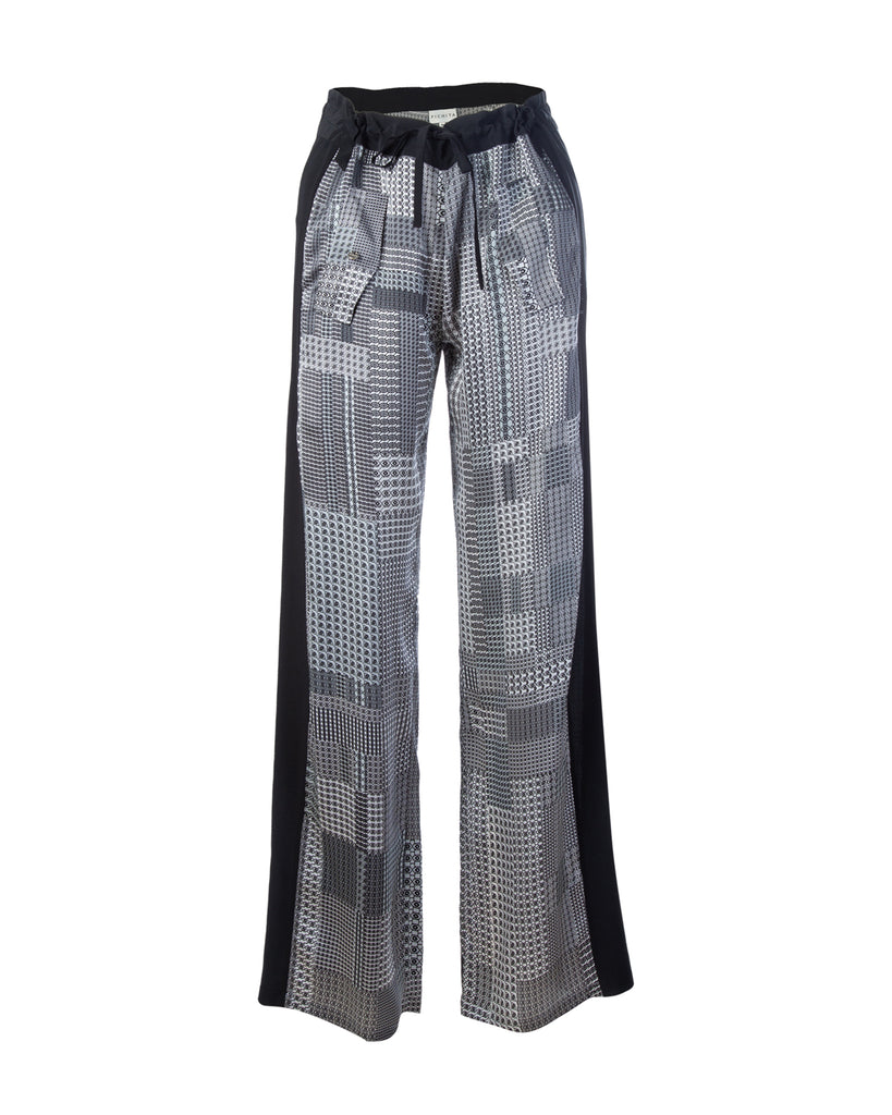 Broken Houndstooth patch silk trousers with side stripe