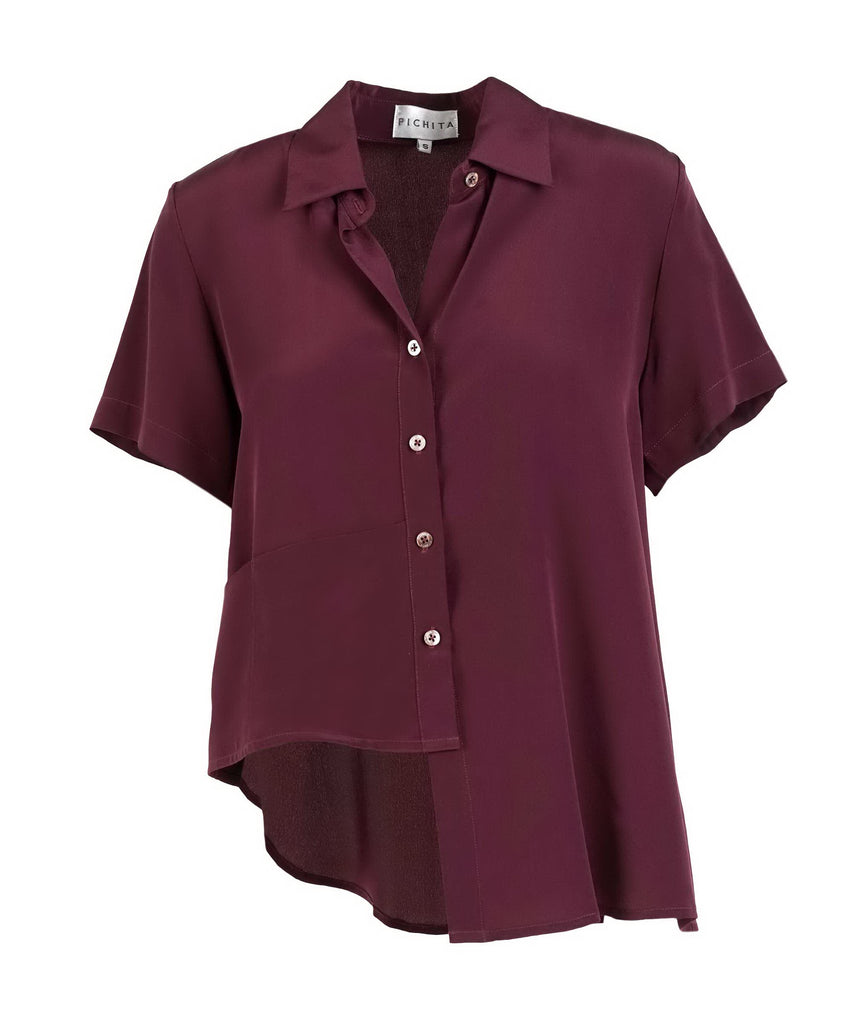 Maroon silk asymmetrical button shirt