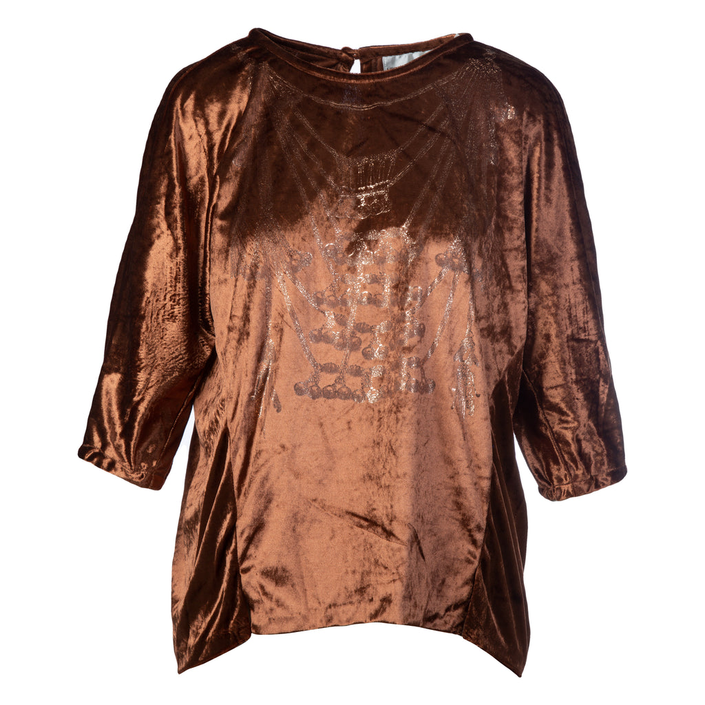 Copper velvet blouse