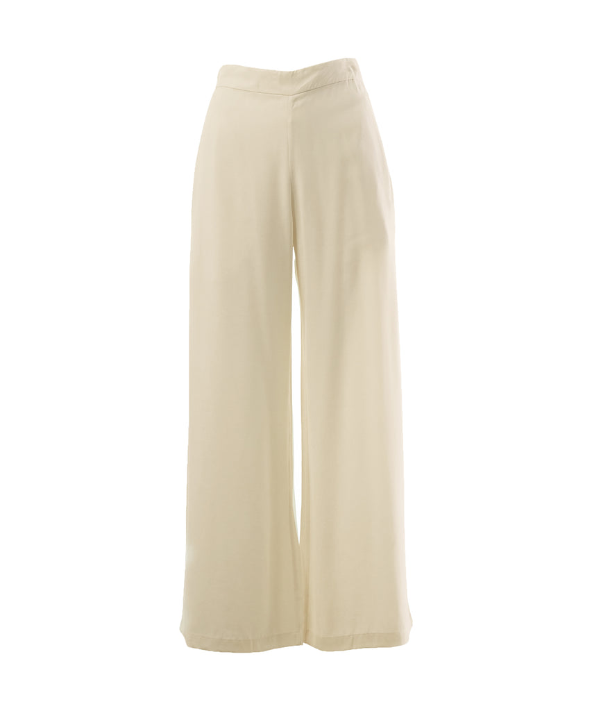 Beige wide legs silk pants