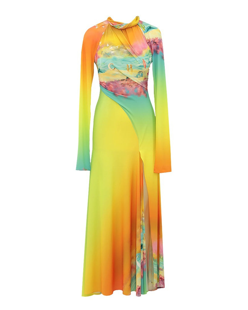Long Sunset Silk Flare Dress