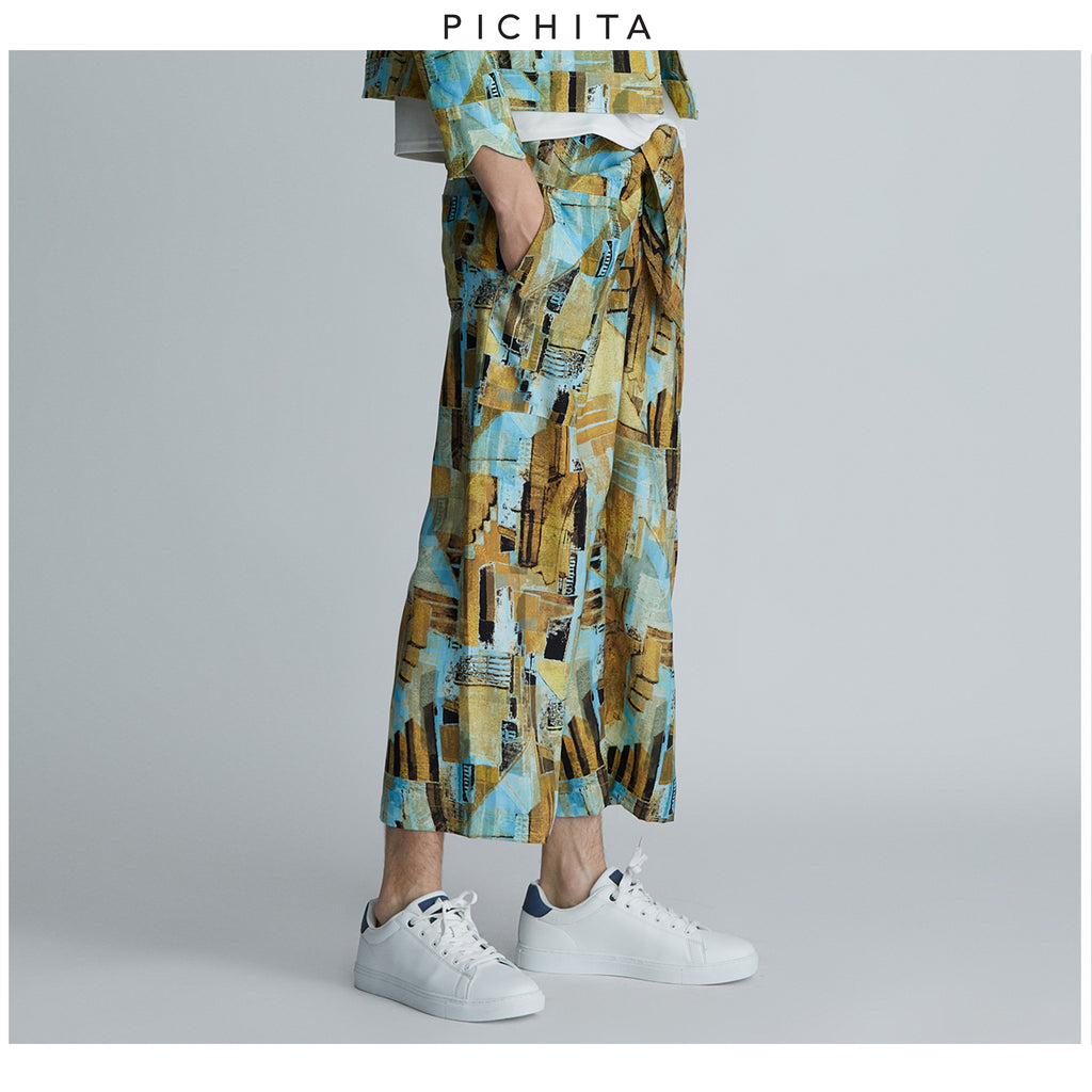 Mystical Golden Hour tie waist trousers