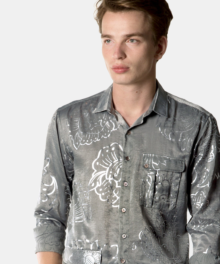 Long Sleeve Button-up Silver Lining Crepe Shirt