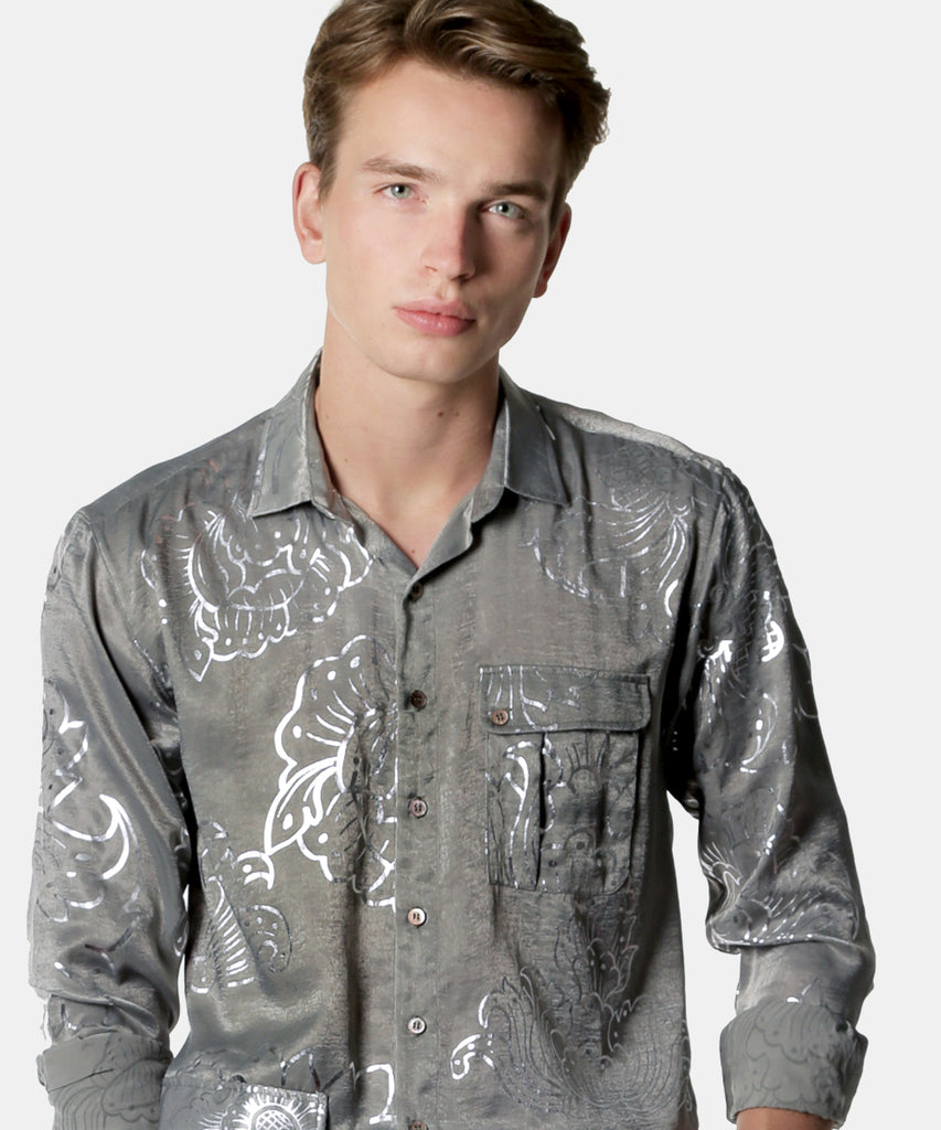 Silver Lining Long Sleeves Button-up Crepe Shirt