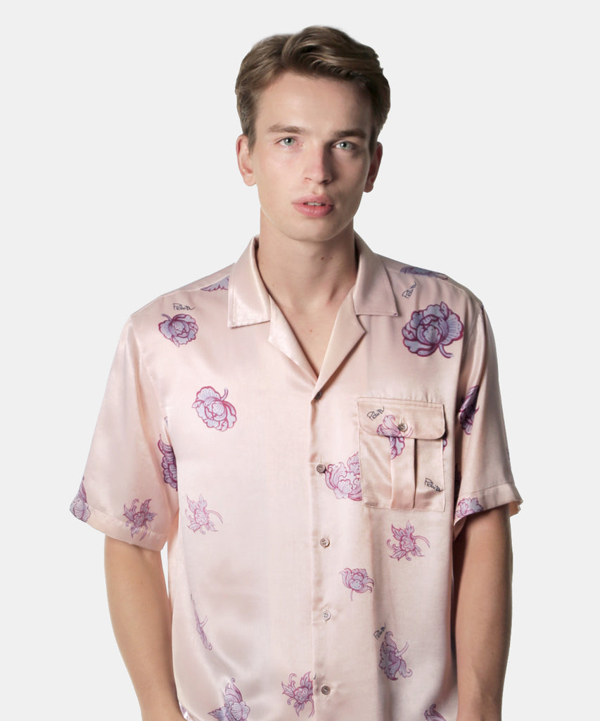 Pink Flower Market Short Sleeves button-up Shirt