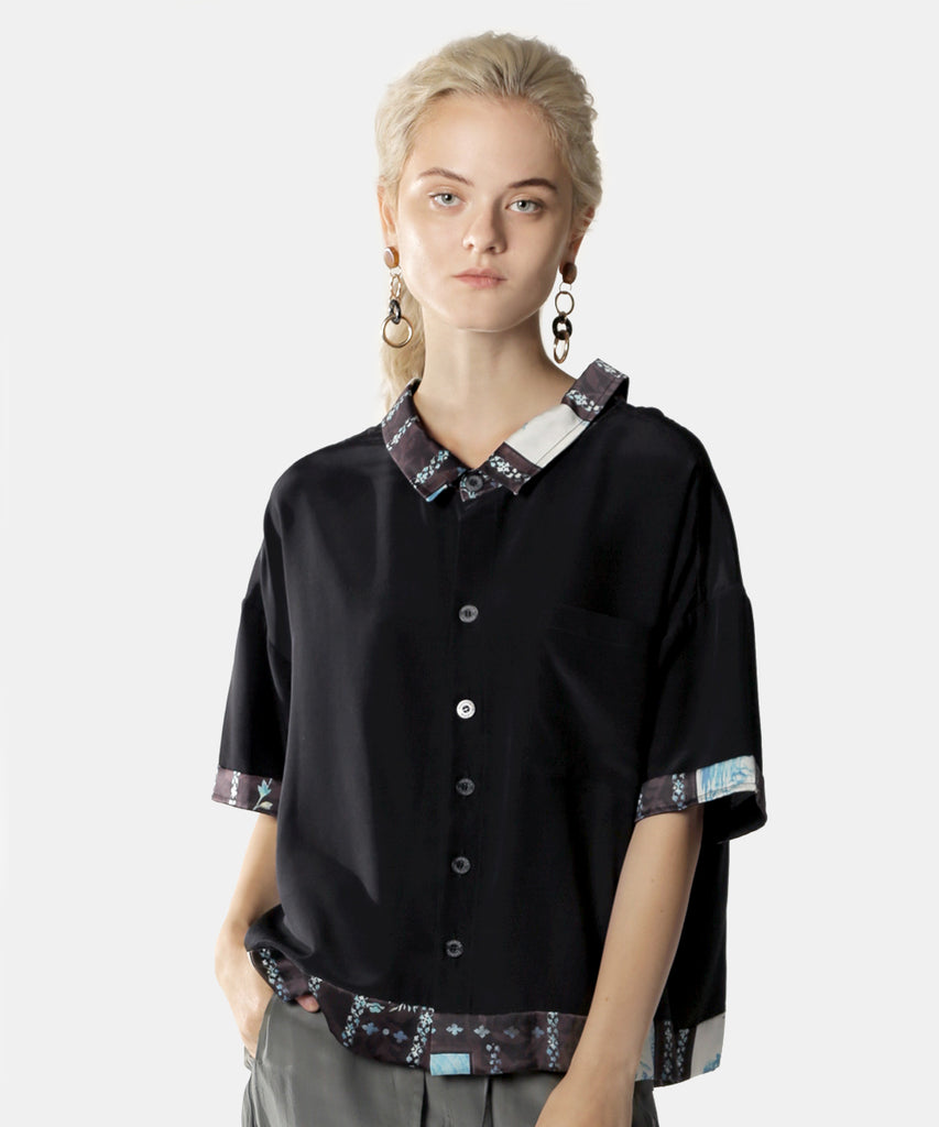 Short Sleeve Shirt Women's Tie Neck
