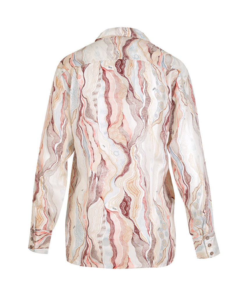 Marble Cream Long Sleeves Button Shirt