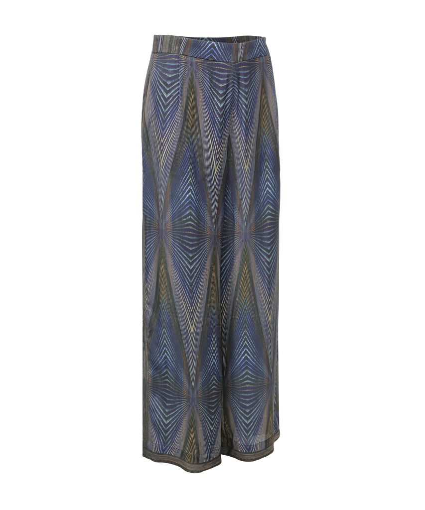 Printed wide-leg zipped crepe trousers