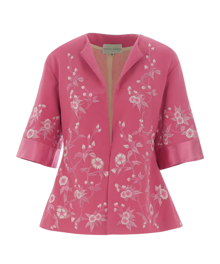 Pink Floral embroidered jacket