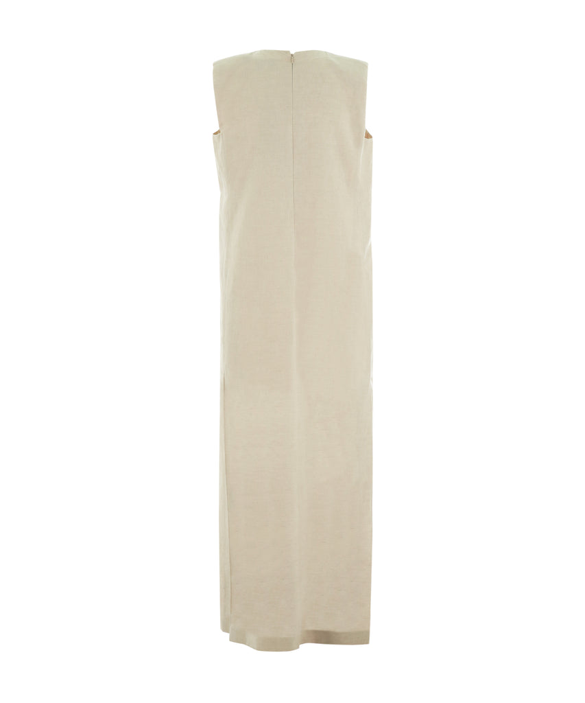 Cream Sleeveless long dress