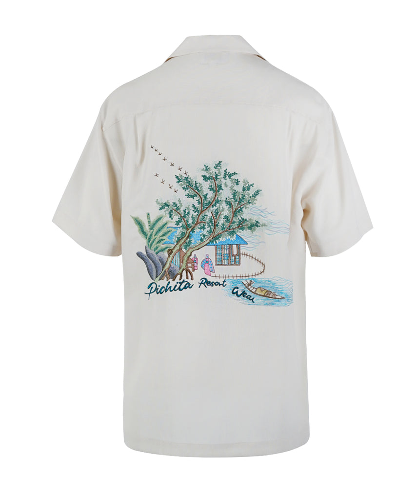 Silk Hawaii Shirt With Embroidery