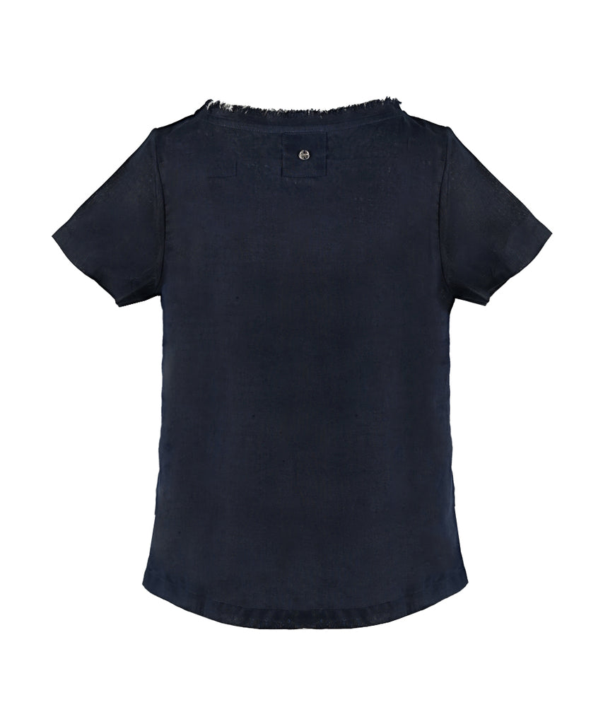 Navy Linen Round-Neck Top