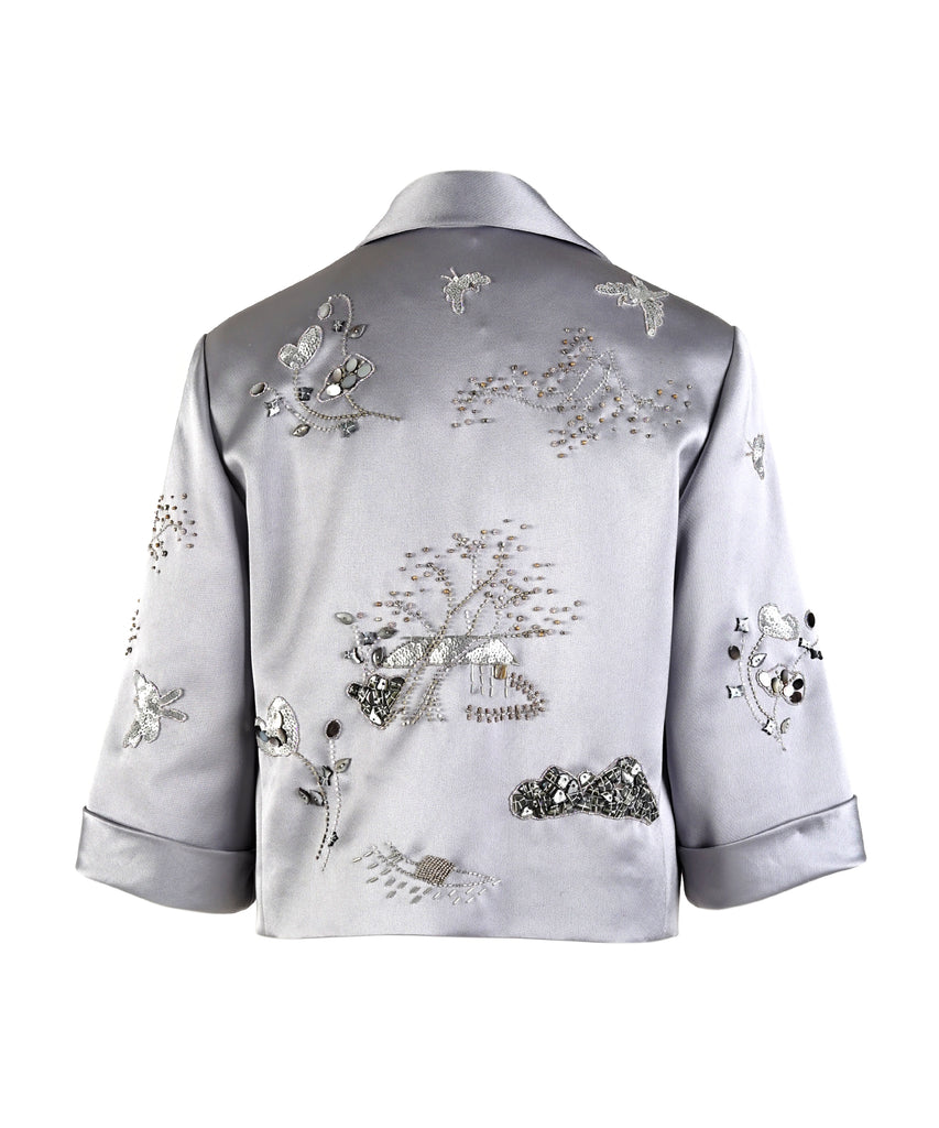 Thai Silk Short Jacket With Embroidery