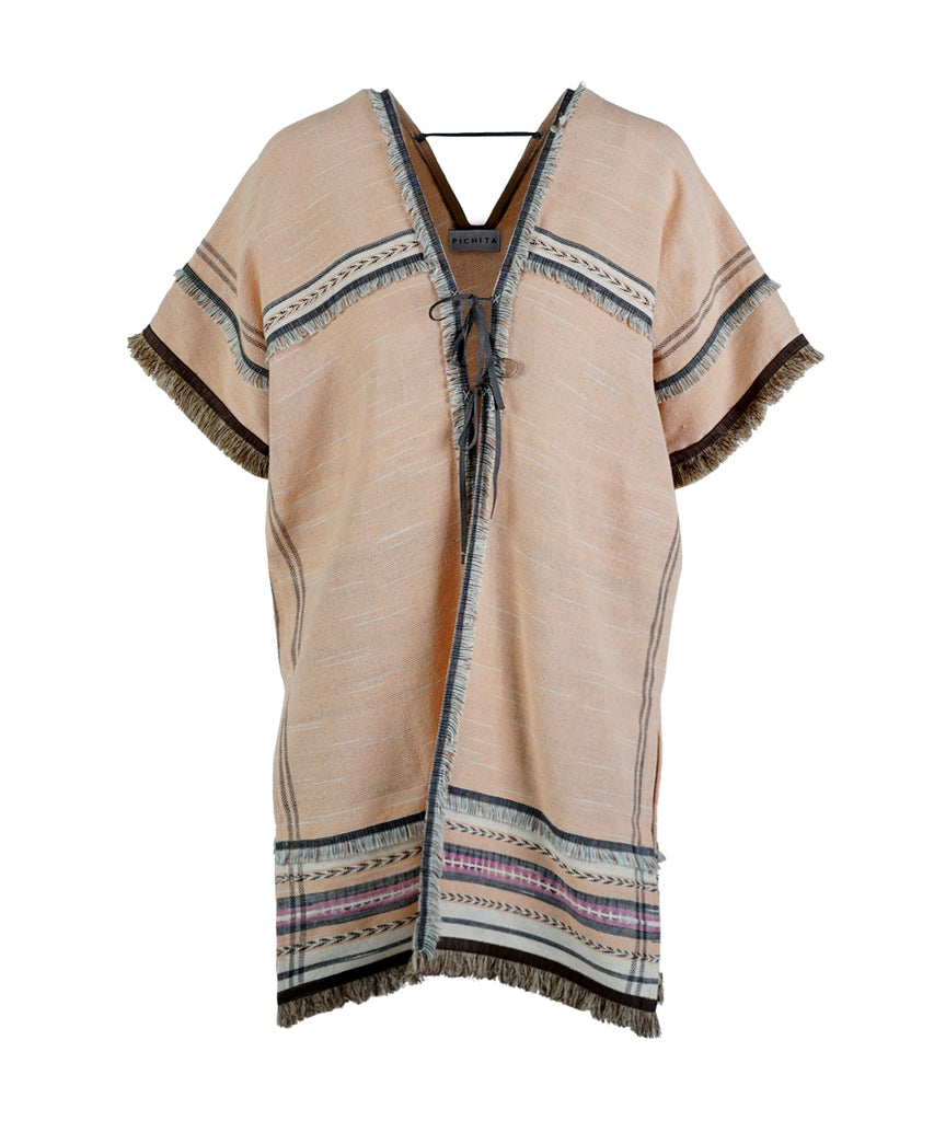 V-neck Mumu Jacket Decorated With Tassel