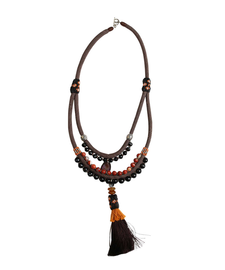 Black Silk with stone beads tassel necklace
